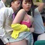 満員バスで爆乳ぽっちゃり娘に密着して悪戯する痴漢ぶっかけレイプ